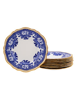 Lynn G. Feld Antiques Set of 9 Blue and White Floral Dinner Plates with Golden Detail