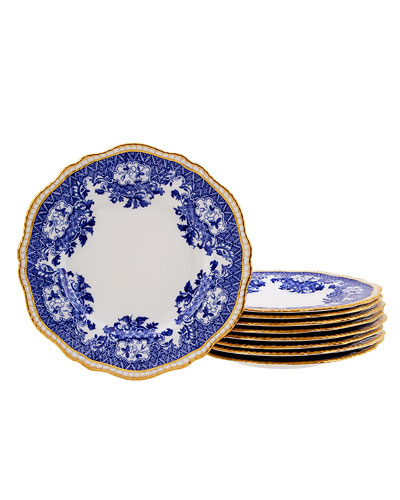 Set of 9 Blue and White Floral Dinner Plates with Golden Detail