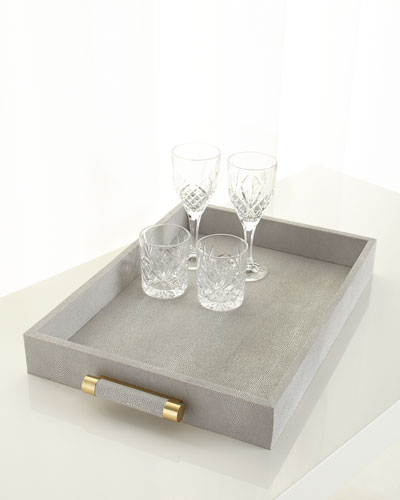 Classic Dove Faux-Shagreen Serving Tray