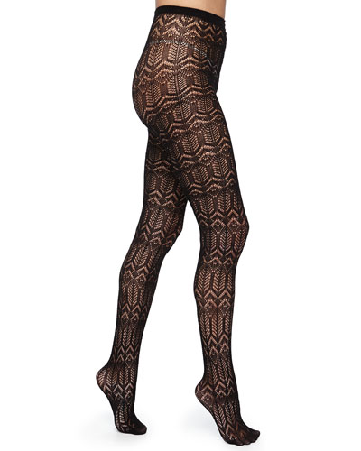 Silk-Effect Cashmere-Blend Diamond Knit Tights, Black