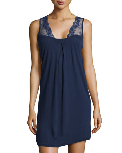 Magnolia Lace-Trim Jersey Babydoll, Blue