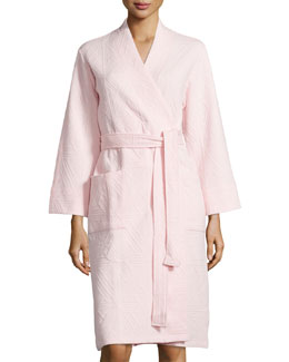 Long-Sleeve Jacquard Robe, Blush Pink