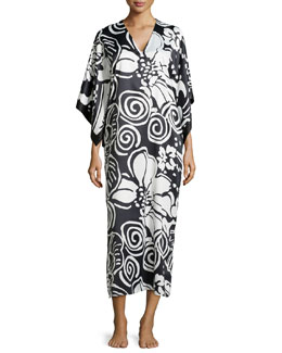 Tuvalo Bordered Caftan, Black/White, Women's
