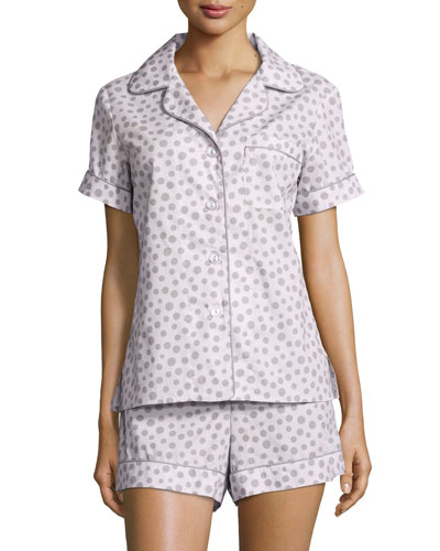 Polka-Dot Print Shorty Pajama Set, Pink/Gray