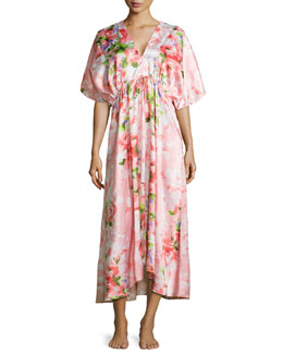 Garden Party Printed Caftan, Pink/Floral