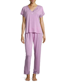 Zen Floral Lace-Trimmed Pajamas, Passion Purple