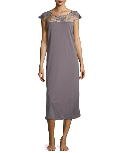 Savona Guipure-Lace Cap-Sleeve Gown, Sparrow