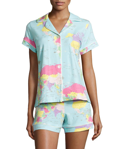 Around the World Shorty Pajama Set, Aqua Print