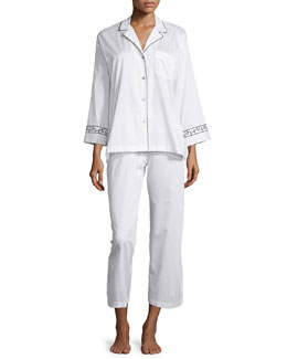 Ming Printed-Trim Pajama Set, White