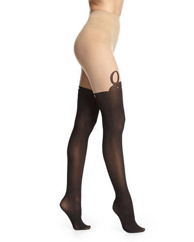 Mock Over-The-Knee Bunny Tights, Nude/Black