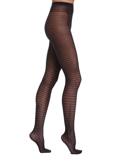 Wave-Pattern Sheer Tights