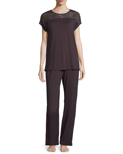 Greta Jersey Pajama Set, Brown