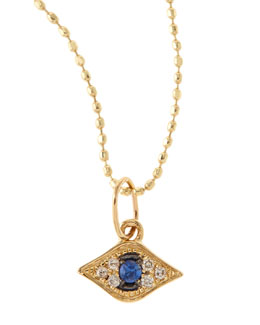 Sydney Evan Baby Evil Eye Necklace with Diamonds & Sapphire, 14K Yellow Gold