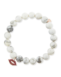 Sydney Evan Pave Lips Howlite Bead Bracelet with Rubies