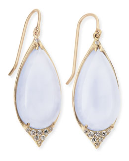 Jamie Wolf 18K Pave-Point Drop Earrings with Blue Chalcedony