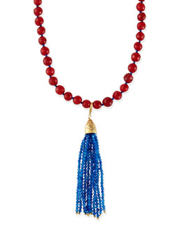 Rosantica Himalaya Two-Tone Agate Tassel Necklace, Red/Blue