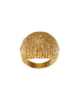 Yossi Harari Roxanne Wire-Lace 18k Gold Dome Ring