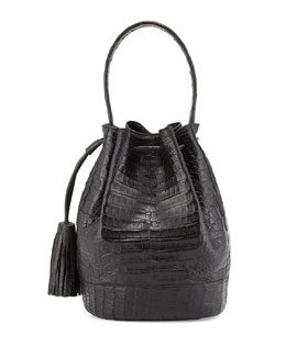Nancy Gonzalez Large Crocodile Tassel Bucket Bag, Black