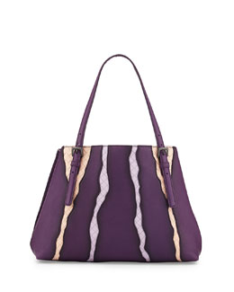 Bottega Veneta Woven-Inset Leather Tote Bag, Purple