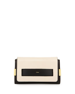 Chloe Elle Clutch Bag with Shoulder Strap, Black/White