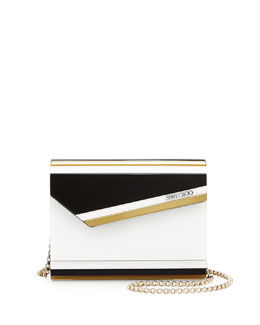 Jimmy Choo Candy Striped Acrylic Crossbody Bag, Black/White
