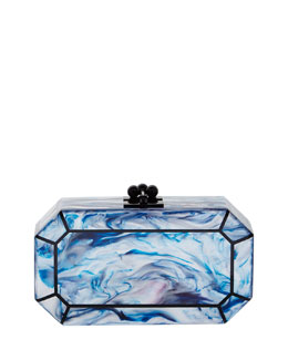 Edie Parker Fiona Faceted Acrylic Clutch Bag, Blue