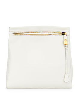 Tom Ford Alix Grained Leather Zip Hobo Bag, White