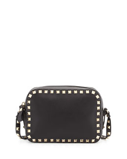 Valentino Rockstud Leather Camera Bag, Black