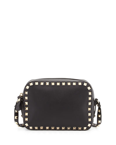 Rockstud Leather Camera Bag, Black