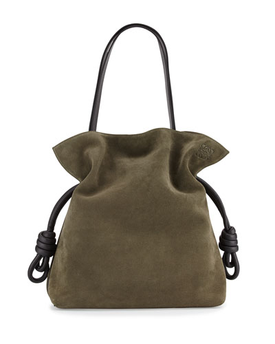 Flamenco Knot Bucket Bag, Khaki