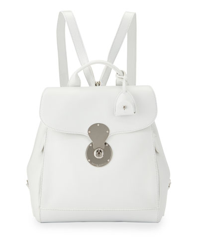 Ricky Calf Leather Backpack, White