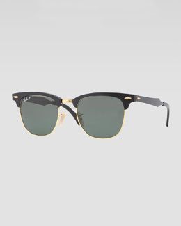 Ray-Ban Clubmaster Aluminum Sunglasses, Black/Green