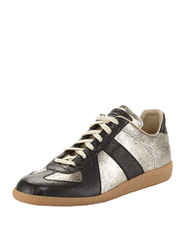 Maison Martin Margiela Replica Men's Low-Top Crackle Sneaker, Black/Gold