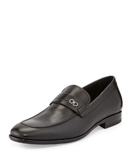 Salvatore Ferragamo Paros Calfskin Loafer with Double Gancini Side Ornament, Black