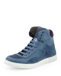 Salvatore Ferragamo Robert Men's Leather & Suede High-Top Sneaker, Blue