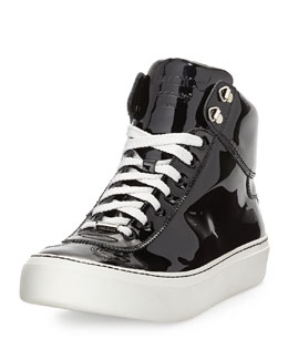 Jimmy Choo Argyle Men's Patent Leather High-Top Sneaker