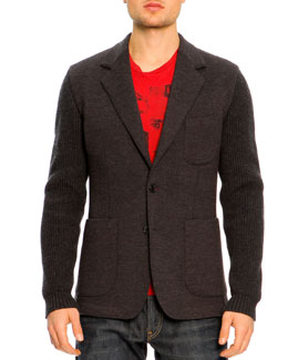 Dolce & Gabbana Two-Button Wool Sleeve Jacket, Charcoal