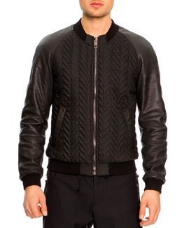 Dolce & Gabbana Bomber Jacket with Leather Sleeves, Dark Gray