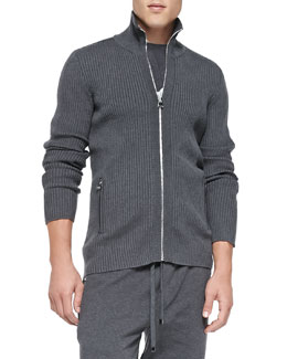 Dolce & Gabbana Ribbed-Knit Zip-Front Sweater, Dark Lead Gray