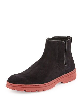 Salvatore Ferragamo Phil Suede Chelsea Boot, Black/Red