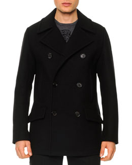 Dolce & Gabbana Wool-Blend Double-Breasted Pea Coat, Black