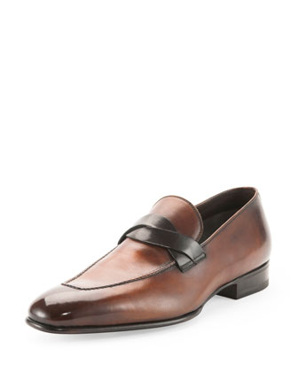 Tom Ford Adney Twist-Front Loafer, Brown