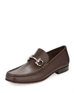 Salvatore Ferragamo Giordano Calfskin Gancini Loafer, Brown