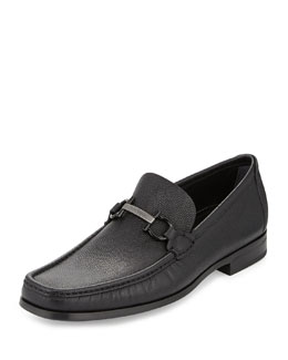 Salvatore Ferragamo Regal Pebbled Calfskin Gancini Loafer, Black