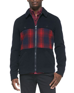 Band of Outsiders Wool-Blend Coat with Plaid-Panel, Navy/Red