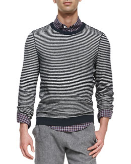 Band of Outsiders Stripe Crewneck Sweater, White/Navy
