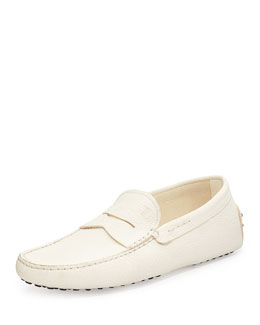 Tod's Pebbled Penny Driver, White