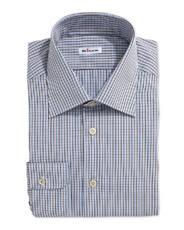 Two-Tone Plaid Dress Shirt, Brown/Blue
