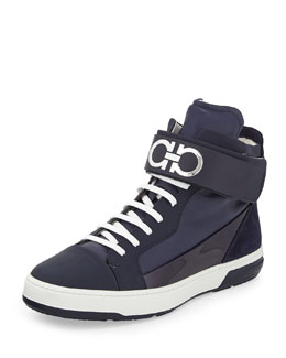 Salvatore Ferragamo Night Napa/Patent High-Top Sneaker with Ankle Strap, Navy