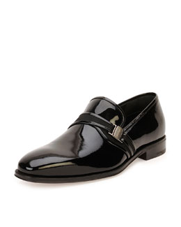 Salvatore Ferragamo Nygel Patent Leather Loafer with Side Vara, Black